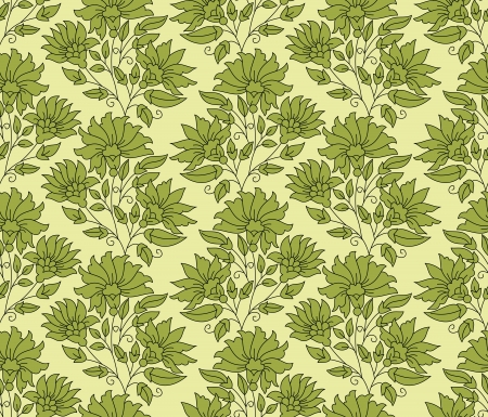 Green seamless flower background Vector