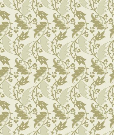 mustered: Seamless leaves wallpaper Illustration