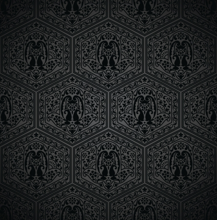 Seamless black wallpaper and invitation card Vector