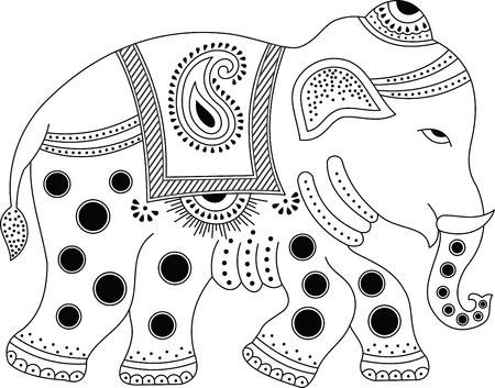black toes: Decorated indian elephant Illustration