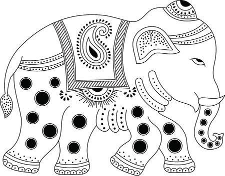 indian elephant: Decorated indian elephant Illustration