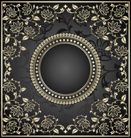 Royal black invitation card Stock Vector - 17375860