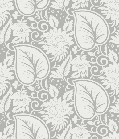 Seamlesss silver floral background Vector