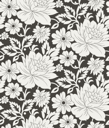 traditional silver wallpaper: Seamless floral background for curtain-cloths