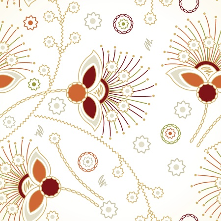 mustered: Seamless zigzag floral background