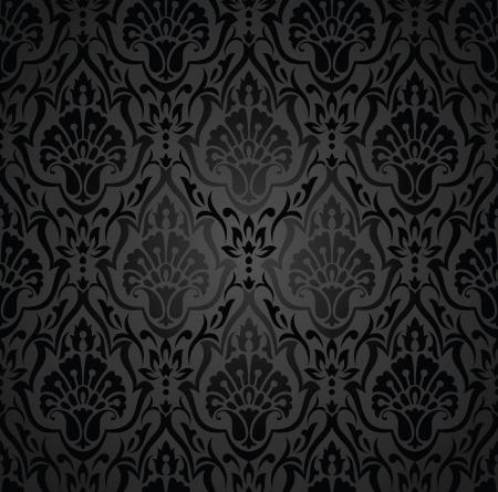 paisley pattern: Royale du papier peint traditionnel noir