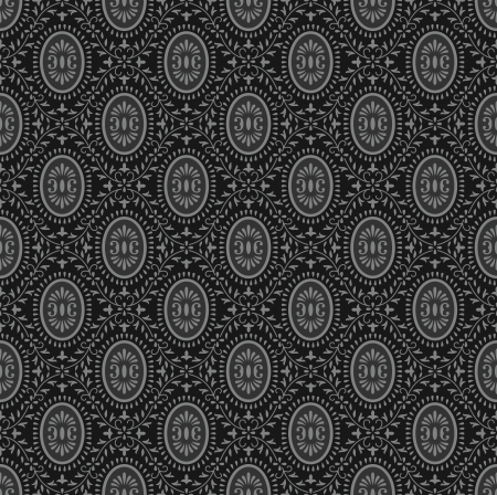 traditional silver wallpaper: Traditional black seamless wallpaper Illustration
