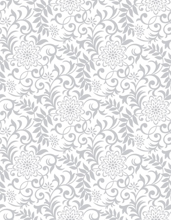 Silver seamless floral background Illustration