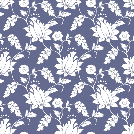 traditional silver wallpaper: Seamless fancy lotus flower background-wallpaper Illustration