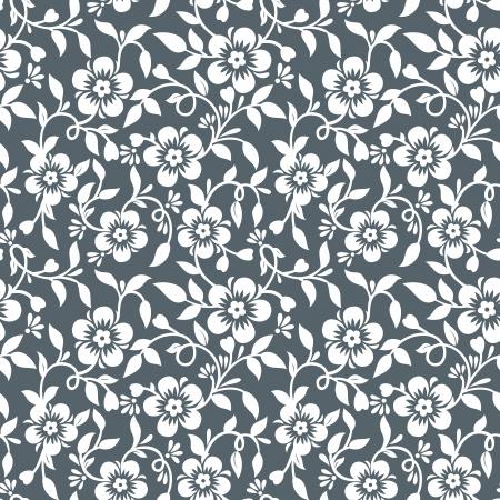 motif cachemire: Argent floral wallpaper Illustration