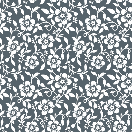 Silver floral wallpaper Stock Vector - 18420886