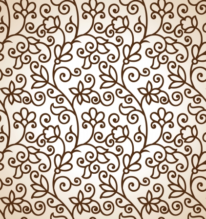 Seamless brown floral background Illustration