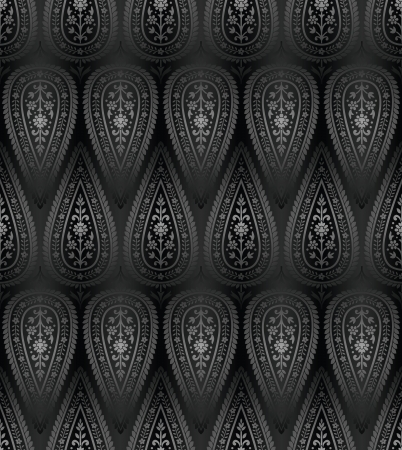 rich black wallpaper: Seamless ornamental wallpaper