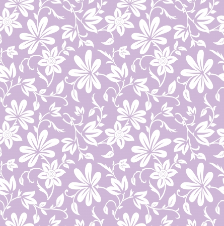 Seamless purple floral background Vector