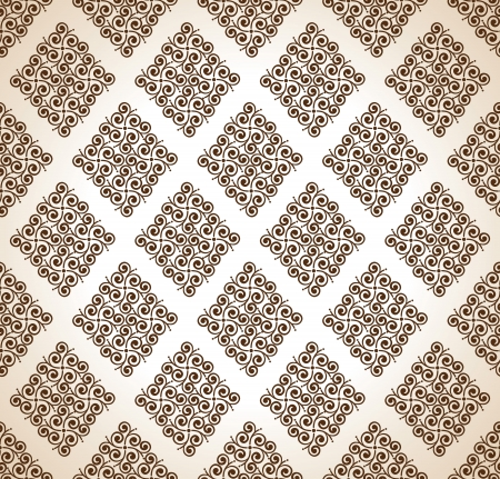 Seamless brown ornamental wallpaper Vector
