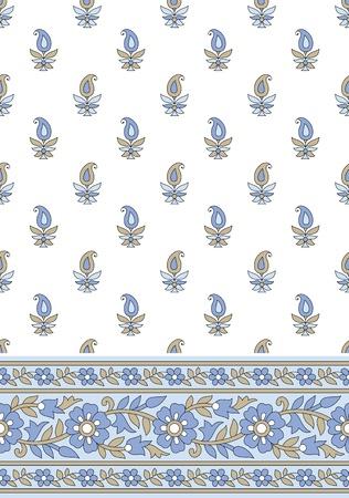 fancy floral wallpaper: Seamless textile design-border