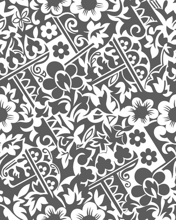 traditional silver wallpaper: Seamless vector floral wallpaper Illustration