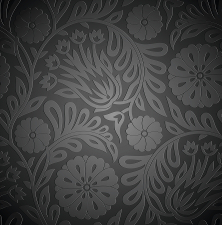 traditional silver wallpaper: Seamless floral wallpaper with emboss effect Illustration