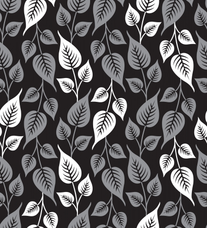 Seamless silver leaves background Vector