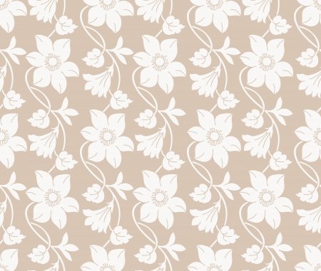 Seamless golden floral wallpaper Vector