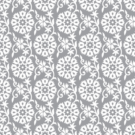 Seamless silver floral background Vector