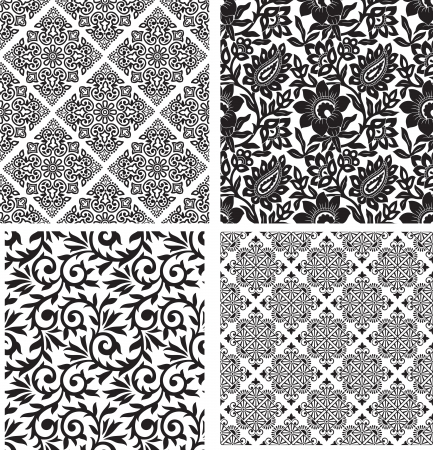 traditional silver wallpaper: Set of seamless floral background Illustration