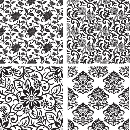 Seamless set of floral background Vector
