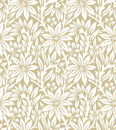 Seamless golden floral pattern Illustration