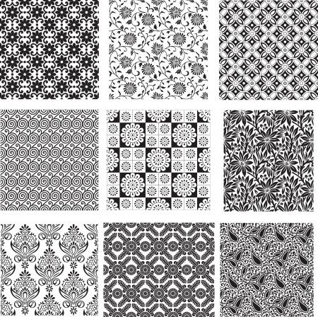 Set of seamless floral pattern Illustration