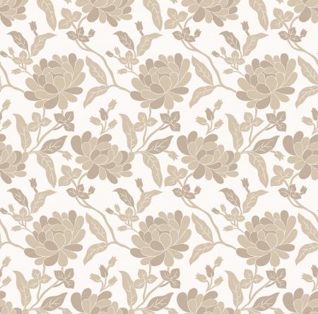 Seamless golden floral wallpaper Stock Vector - 20299014