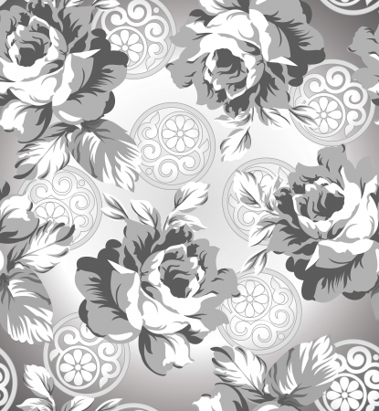 rich black wallpaper: Seamless silver rose flower background