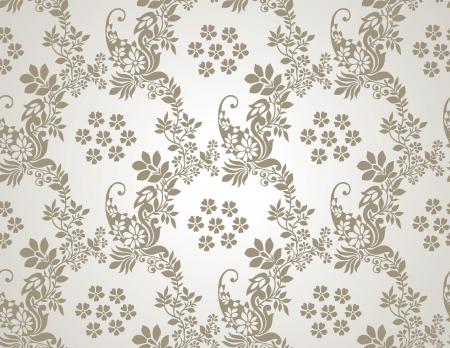 damast: Floral nahtlose goldenen Tapeten