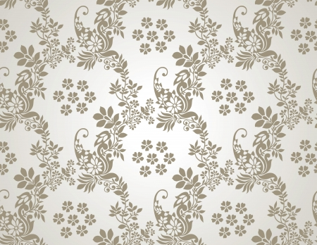 Floral seamless golden wallpaper Vector