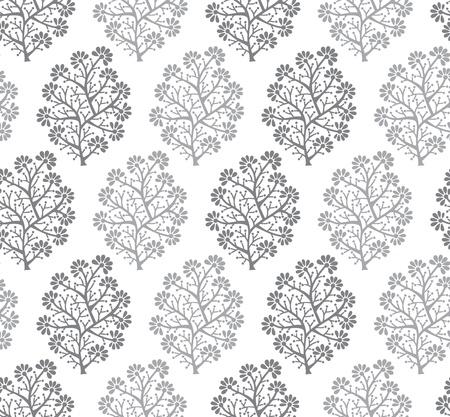 Seamless silver fancy floral wallpaper