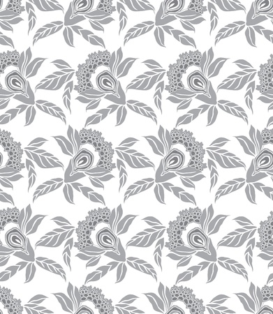 Silver seamless floral wallpaper Stock Vector - 20634531