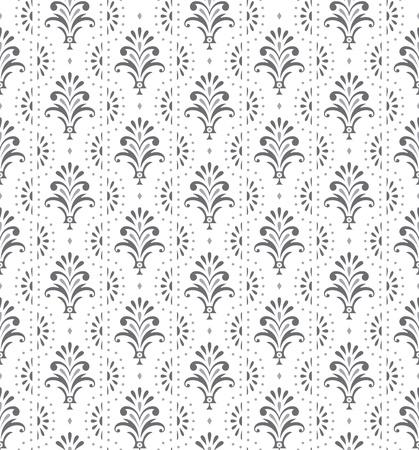 銀のシームレスな伝統的な花の壁紙  イラスト・ベクター素材