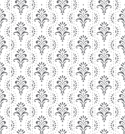 Silver seamless traditional floral wallpaper