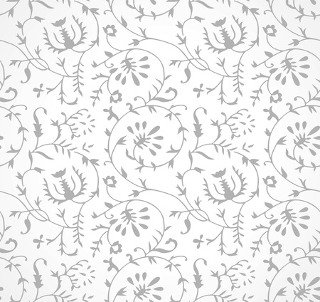 Seamless silver floral wallpaper Vector