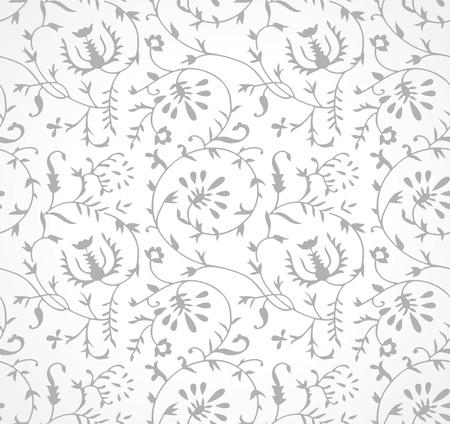 Seamless silver floral wallpaper Stock Vector - 20874302