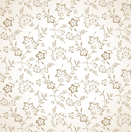 mustered: Seamless floral de oro vector wallpaper
