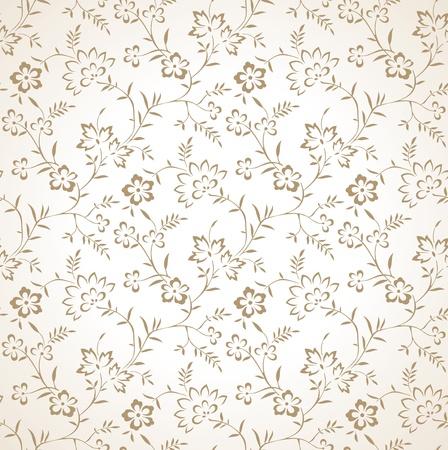 Seamless golden vector floral wallpaper Stock Vector - 20874303