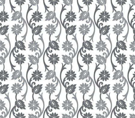 floral vector: Seamless royal silver vector floral wallpaper