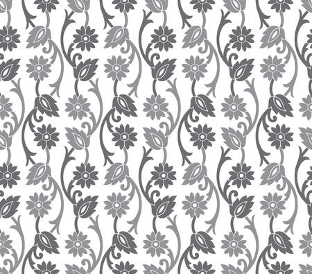 floral vector: Seamless royal silver vector floral wallpaper