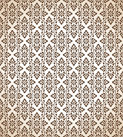 Seamless traditional brown vector wallpaper Stock Vector - 20874310