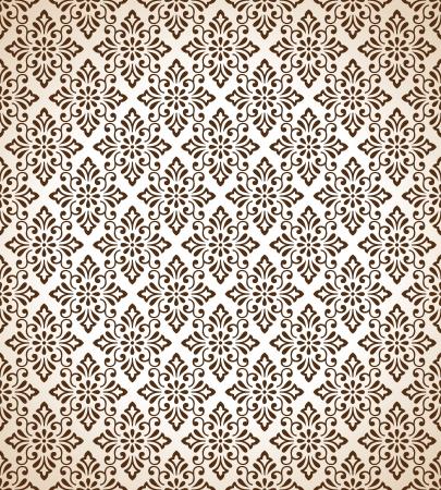 Seamless traditional brown vector wallpaper Stock Vector - 20874310