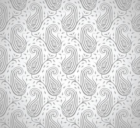 Seamless royal silver vector paisley wallpaper Vector