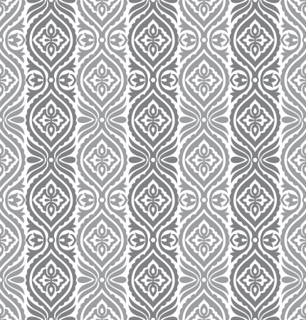 Seamless silver vertical vector floral wallpaper
