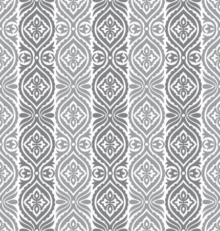 Seamless silver vertical vector floral wallpaper