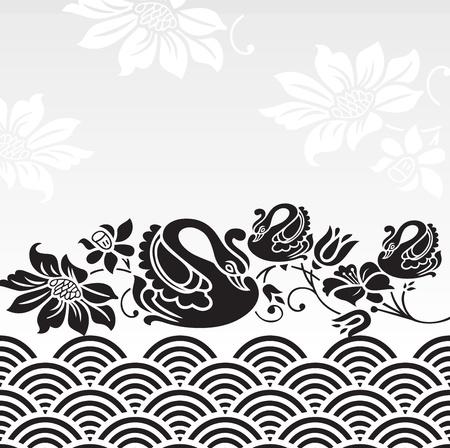 Royal cubierta cuaderno con la flor y el cisne Foto de archivo - 20874330