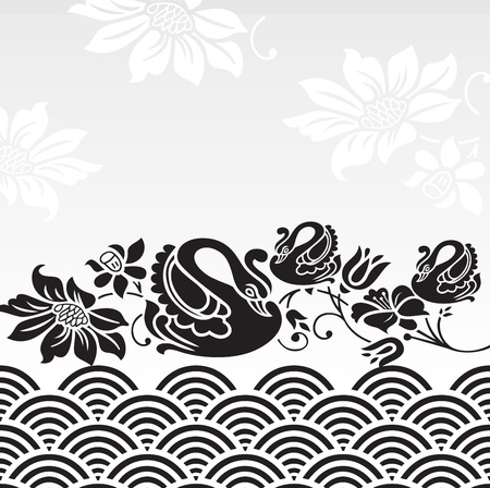 Royal note book cover with swan and flower image Vector